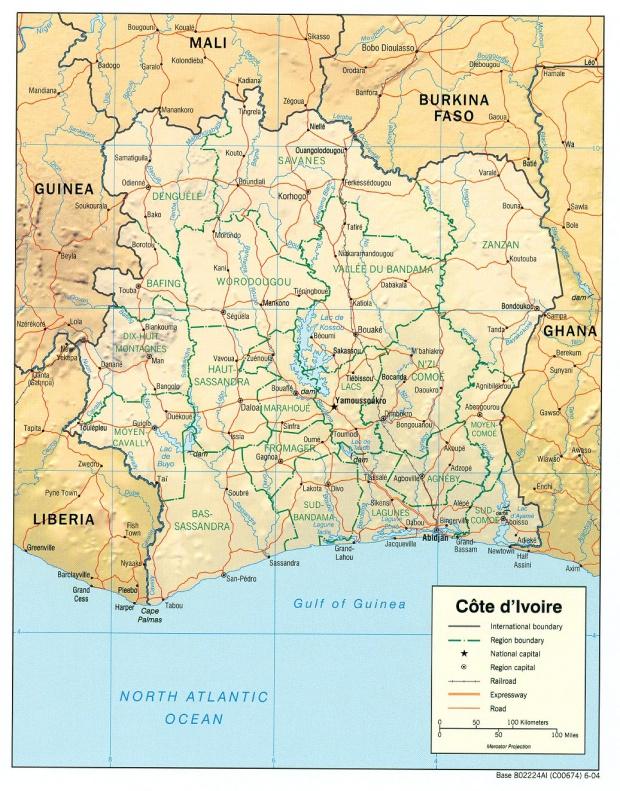 Mapa de Relieve Sombreado de Côte d'Ivoire