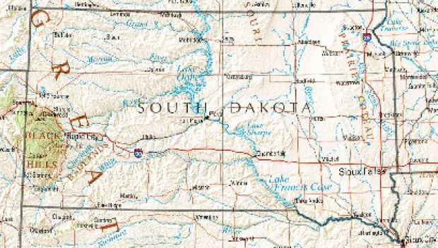 Mapa de Relieve Sombreado de Dakota del Sur, Estados Unidos