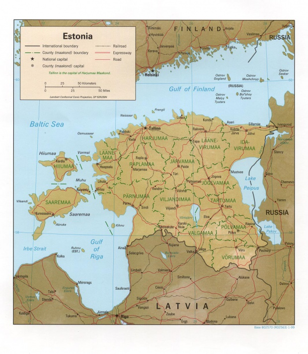 Mapa de Relieve Sombreado de Estonia