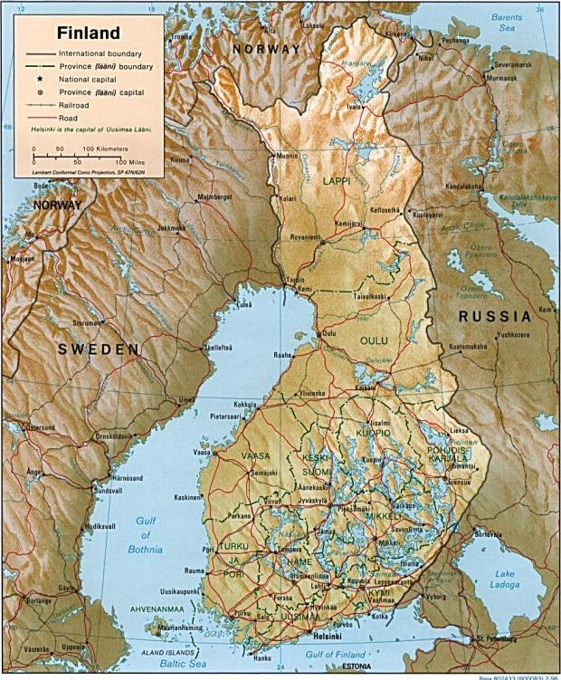 Mapa de Relieve Sombreado de Finlandia