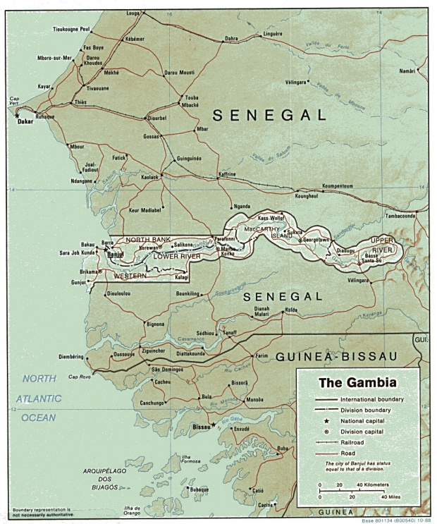 Mapa de Relieve Sombreado de Gambia