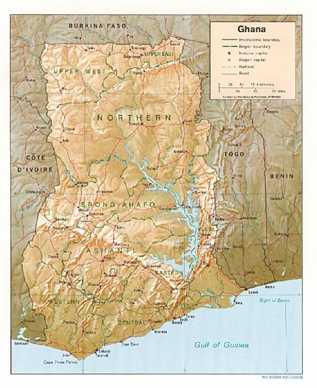 Mapa de Relieve Sombreado de Ghana