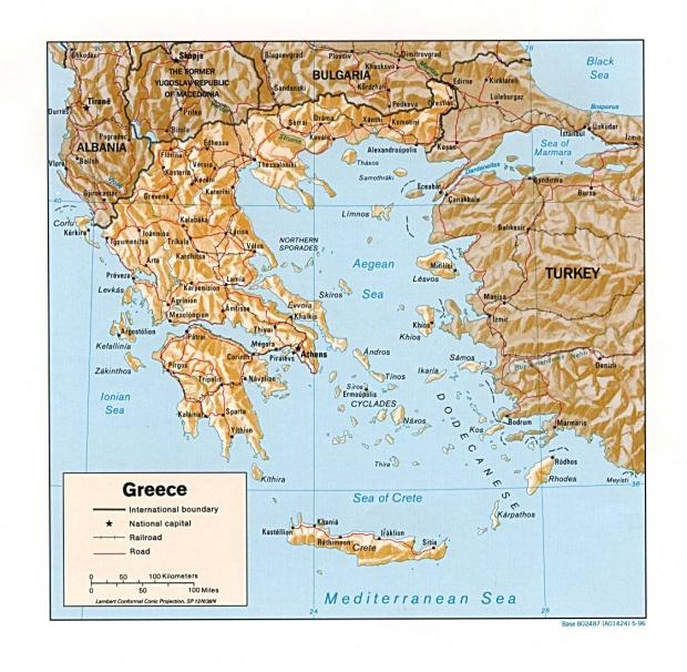Mapa de Relieve Sombreado de Grecia