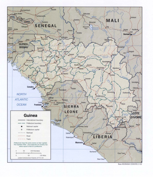 Mapa de Relieve Sombreado de Guinea
