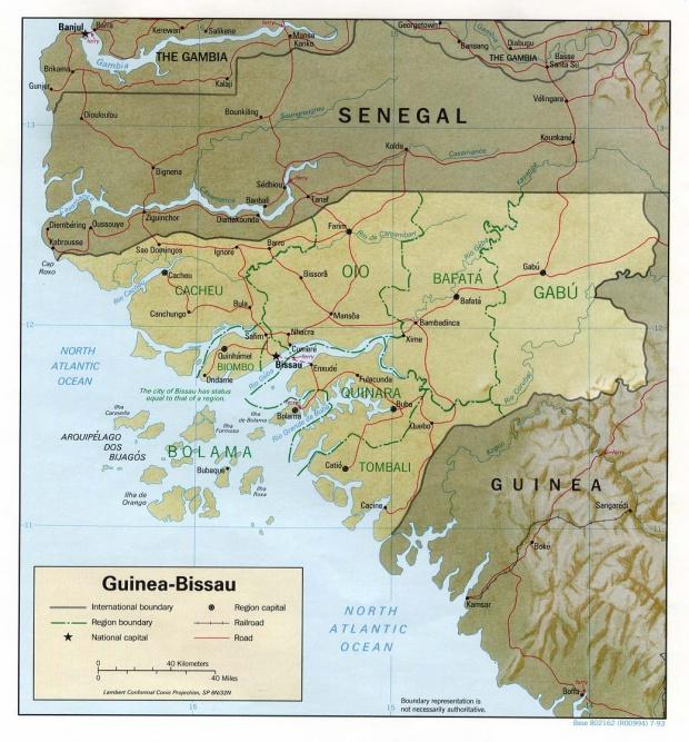 Mapa de Relieve Sombreado de Guinea-Bissau