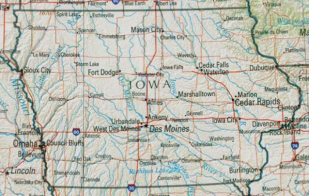 Mapa de Relieve Sombreado de Iowa, Estados Unidos