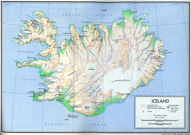 Mapa de Relieve Sombreado de Islandia