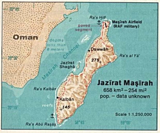 Mapa de Relieve Sombreado de Jazirat Masirah, Omán