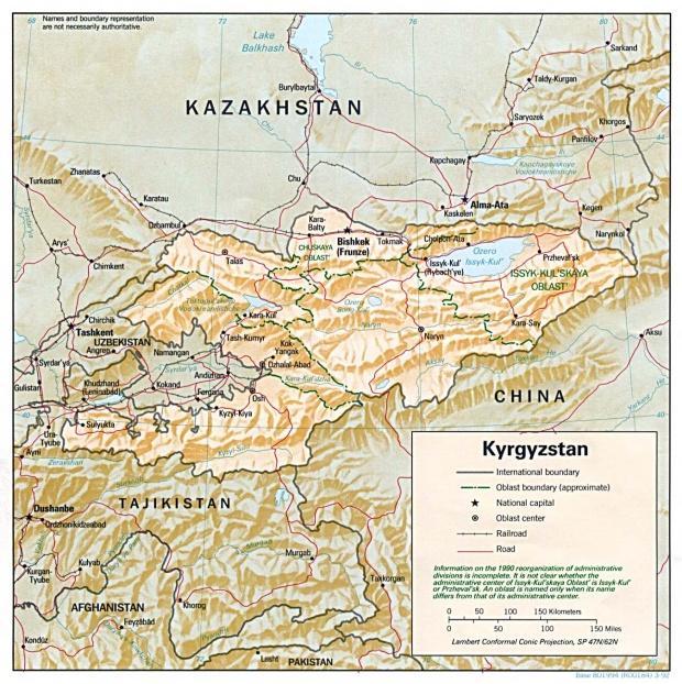Mapa de Relieve Sombreado de Kirguistán
