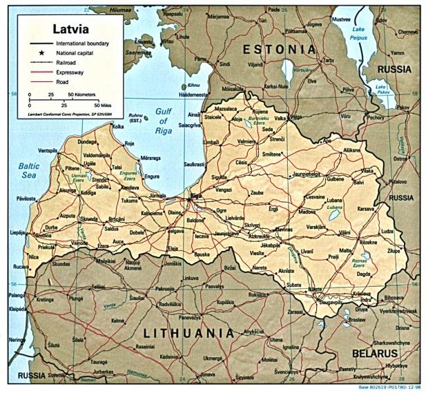 Mapa de Relieve Sombreado de Letonia