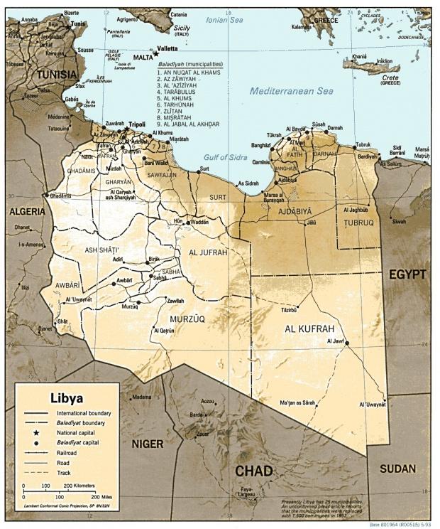 Mapa de Relieve Sombreado de Libia