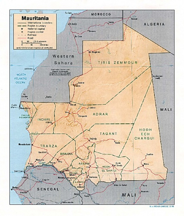 Mapa de Relieve Sombreado de Mauritania