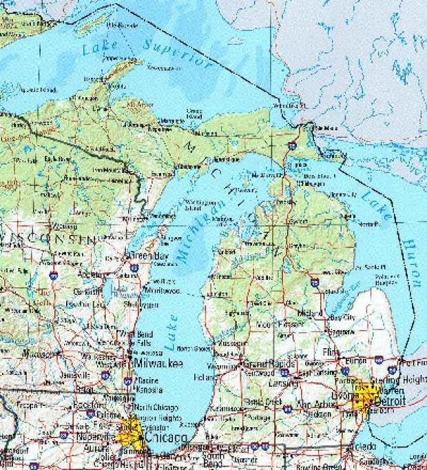 Mapa de Relieve Sombreado de Michigan, Estados Unidos