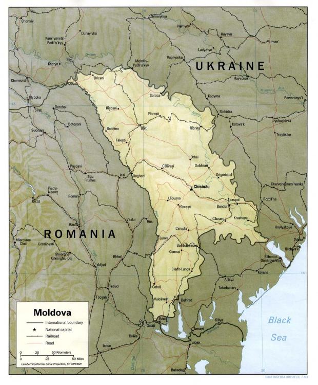 Mapa de Relieve Sombreado de Moldavia
