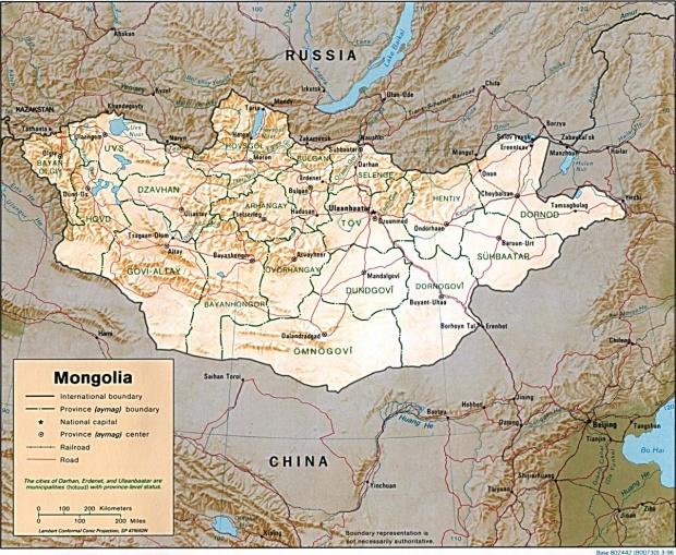 Mapa de Relieve Sombreado de Mongolia