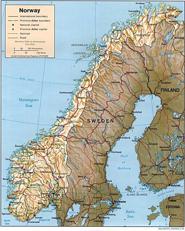 Mapa de Relieve Sombreado de Noruega