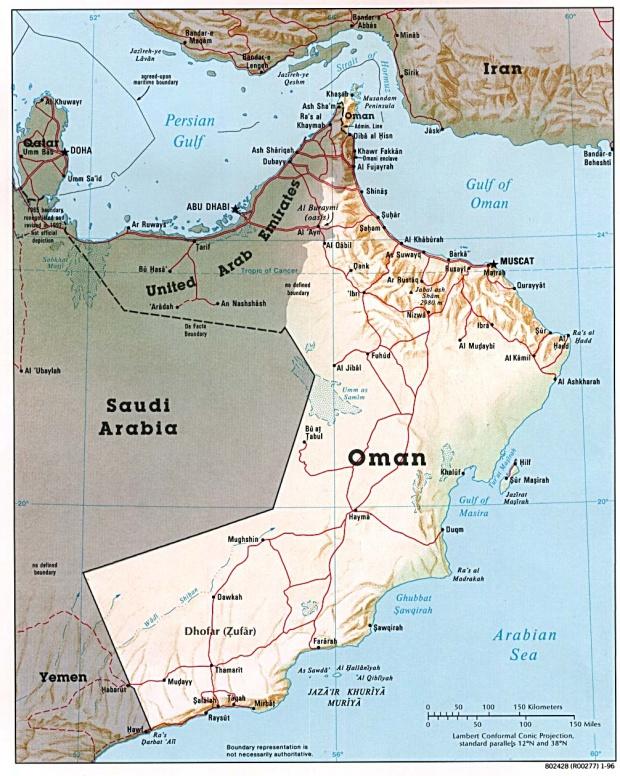 Mapa de Relieve Sombreado de Omán