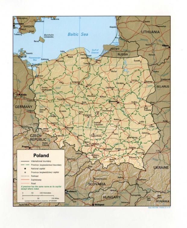Mapa de Relieve Sombreado de Polonia