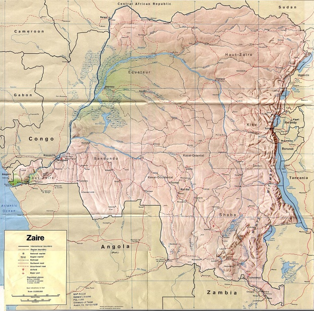 Mapa de Relieve Sombreado de República Democrática del Congo (Zaire)