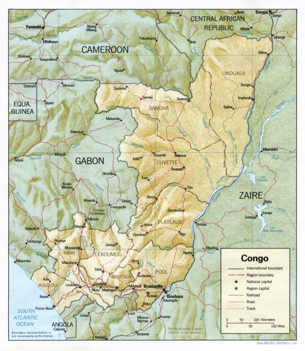 Mapa de Relieve Sombreado de República del Congo