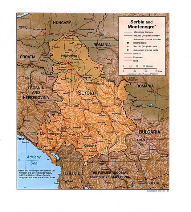 Mapa de Relieve Sombreado de Serbia y Montenegro