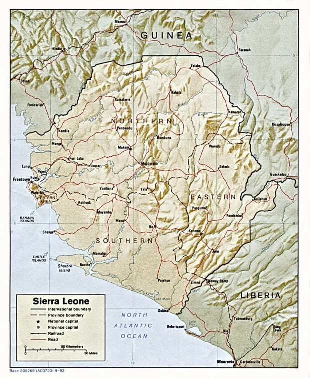 Mapa de Relieve Sombreado de Sierra Leona