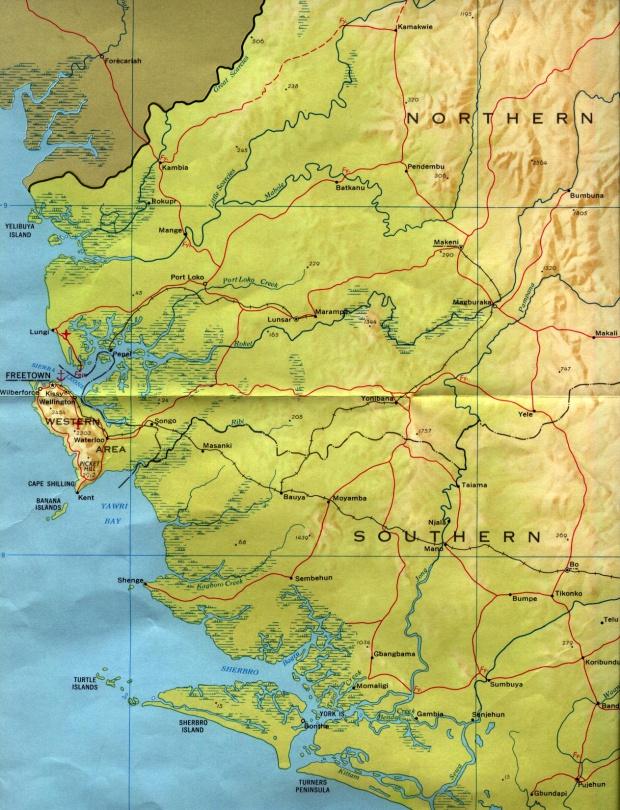 Mapa de Relieve Sombreado de Sierra Leona Occidental