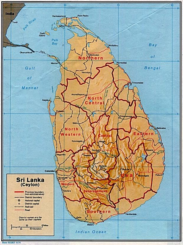Mapa de Relieve Sombreado de Sri Lanka