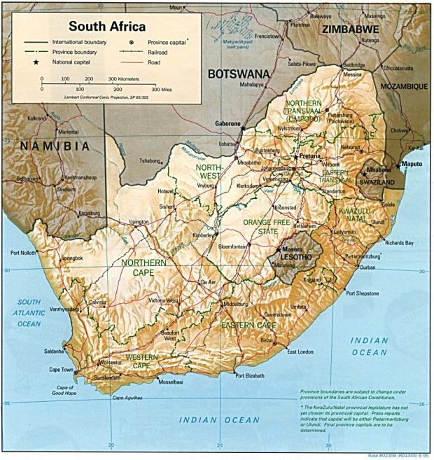 Mapa de Relieve Sombreado de Sudáfrica