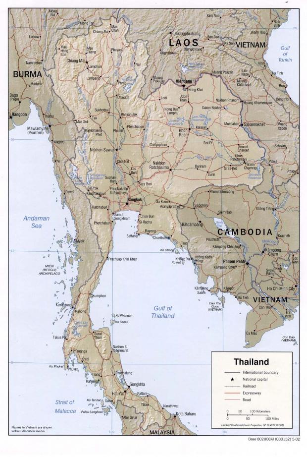 Mapa de Relieve Sombreado de Tailandia