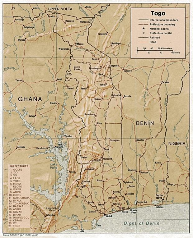 Mapa de Relieve Sombreado de Togo