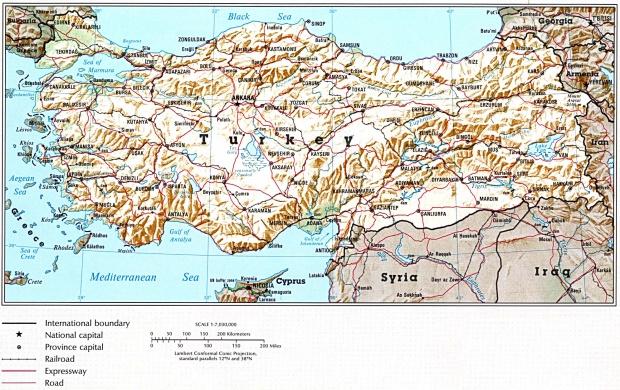 Mapa de Relieve Sombreado de Turquía
