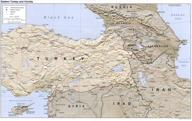 Mapa de Relieve Sombreado de Turquía Oriental y Cercanías