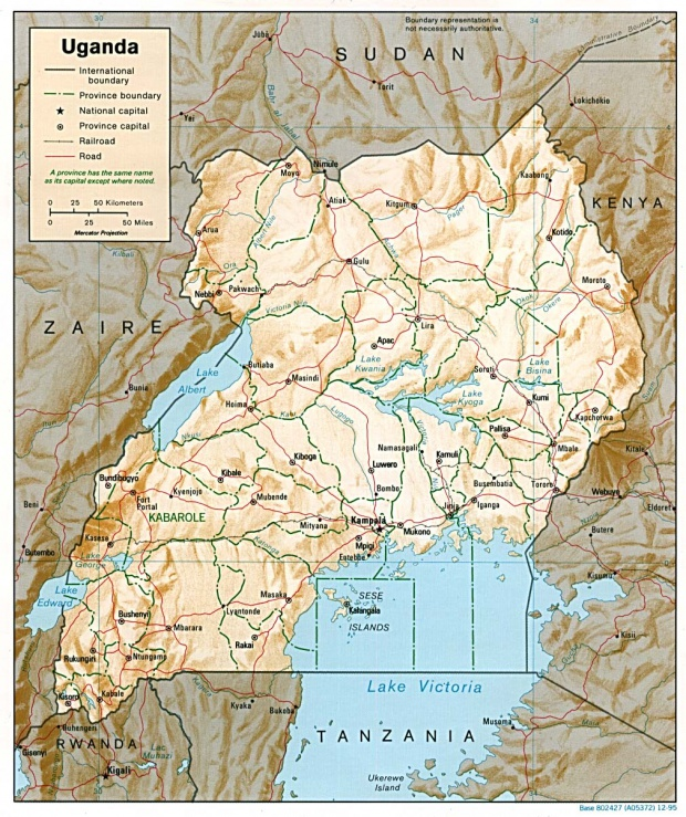 Mapa de Relieve Sombreado de Uganda