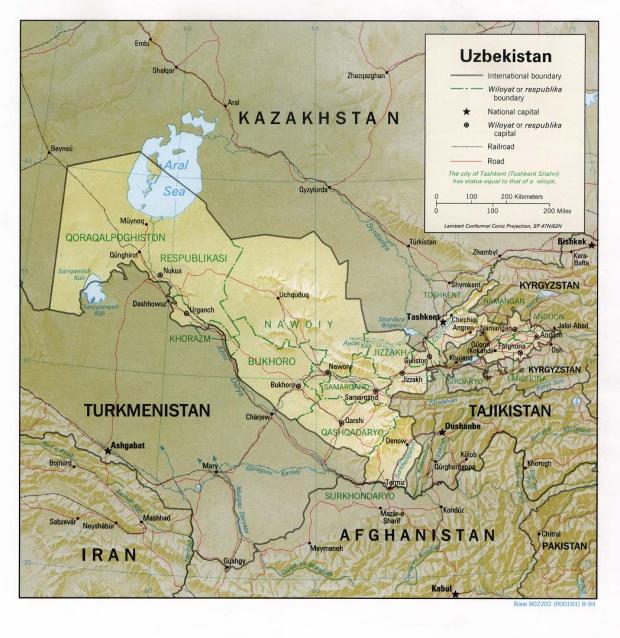 Mapa de Relieve Sombreado de Uzbekistán