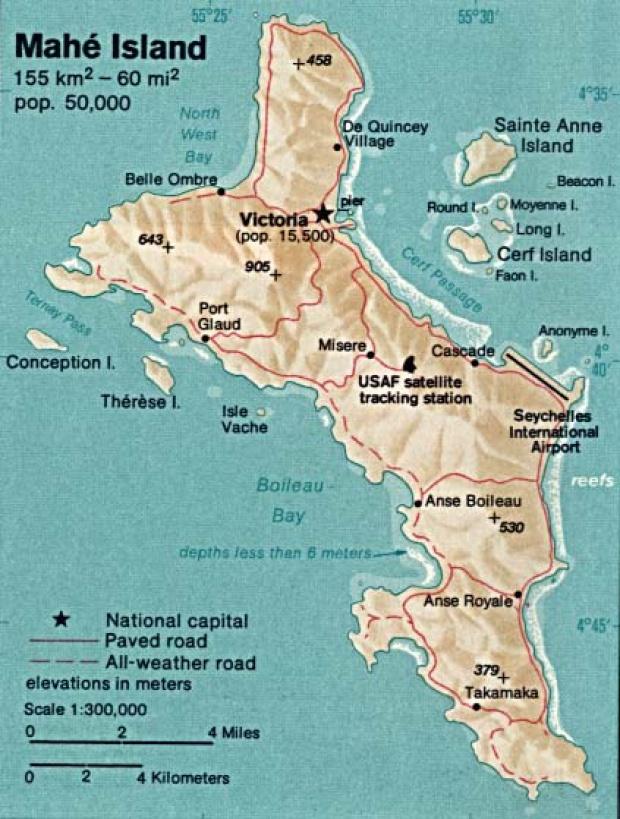 Mapa de Relieve Sombreado de la Isla Mahé, Seychelles
