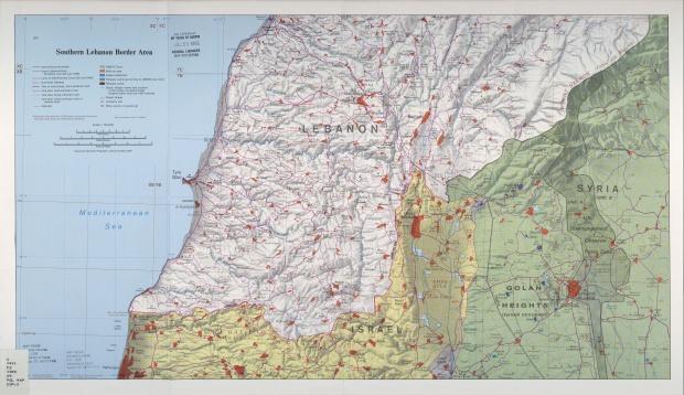 Mapa de Relieve Sombreado de la Région de la Frontera Sur de Líbano