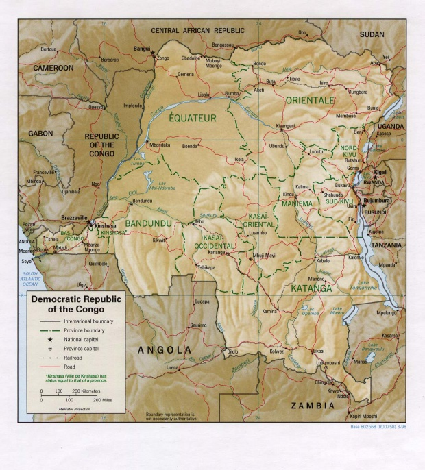 Mapa de Relieve Sombreado de la República Democrática del Congo (Zaire)