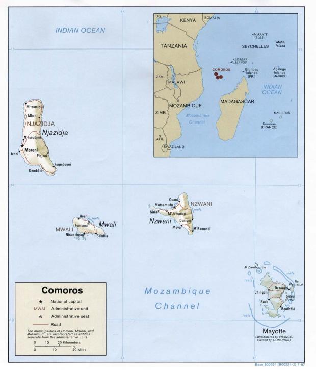 Mapa de Relieve Sombreado de las Comoras