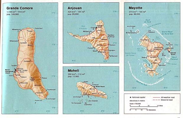 Mapa de Relieve Sombreado de las Comoras (Gran Comora, Anjouan, Mohéli, Mayotte)