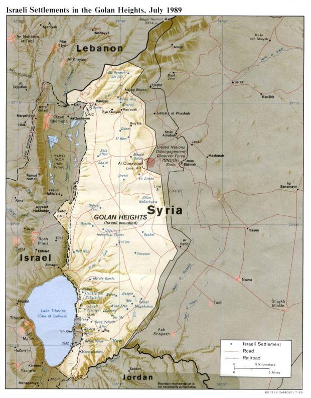 Mapa de Relieve Sombreado de los Asentamientos Israelíes in los Altos del Golán