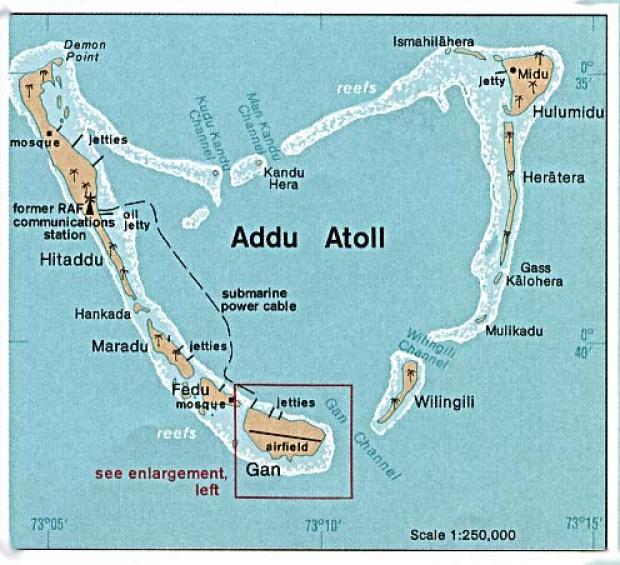 Mapa de Relieve Sombreado del Atolón de Addu (Addu), Maldivas