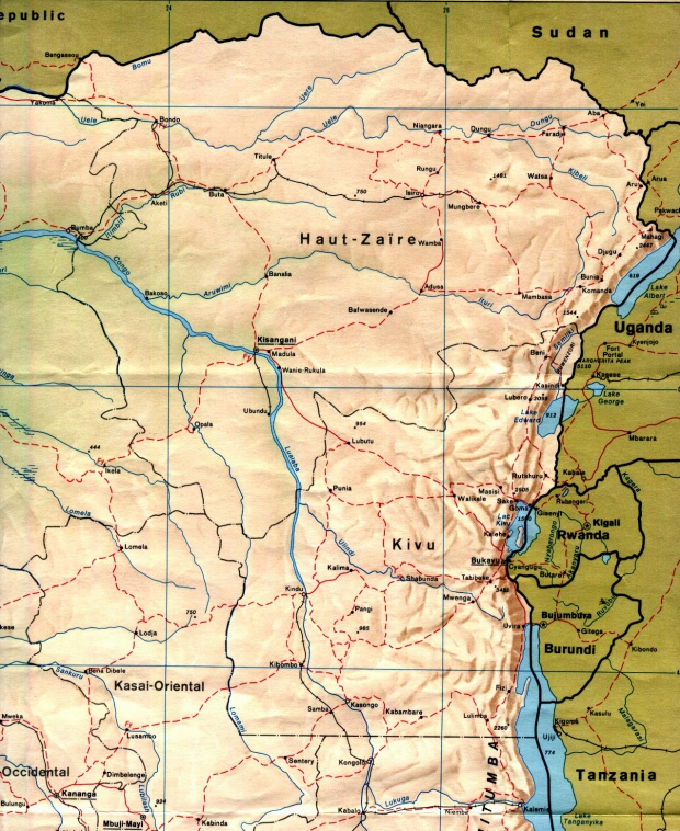 Mapa de Relieve Sombreado del Oriente de la República Democrática del Congo (Zaire)