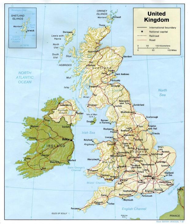 Mapa de Relieve Sombreado del Reino Unido
