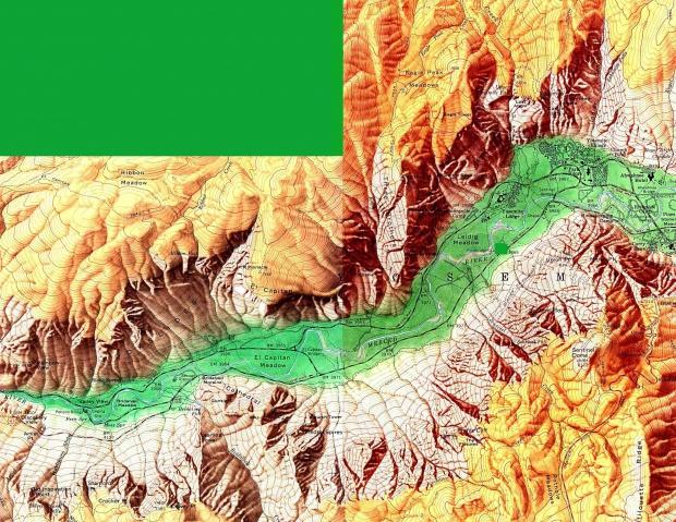 Mapa de Relieve Sombreado del Valle Yosemite, California, Estados Unidos 1958