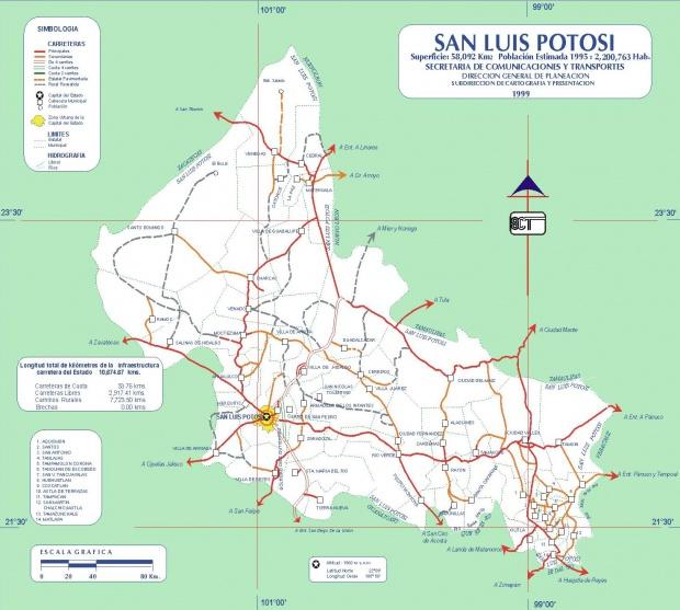 Mapa de San Luis Potosi (Estado), Mexico