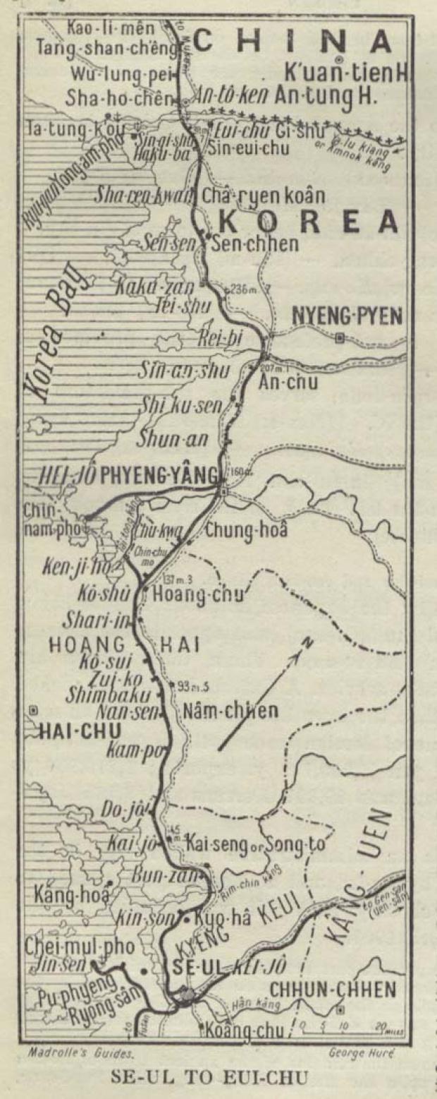 Mapa de Seúl Hacia Eui-chu 1912