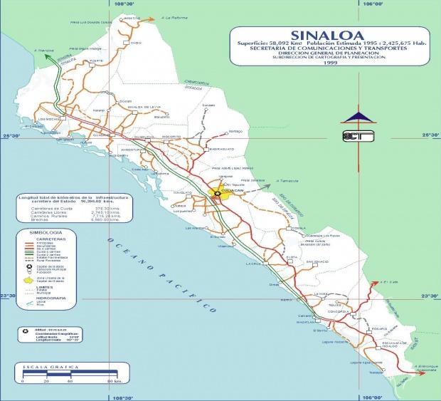 Mapa de Sinaloa (Estado), Mexico