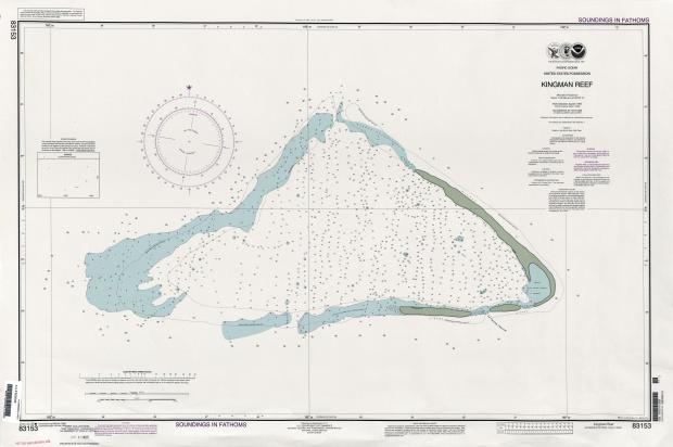 Mapa de Sondeos en Brazas del Arrecife Kingman, Estados Unidos