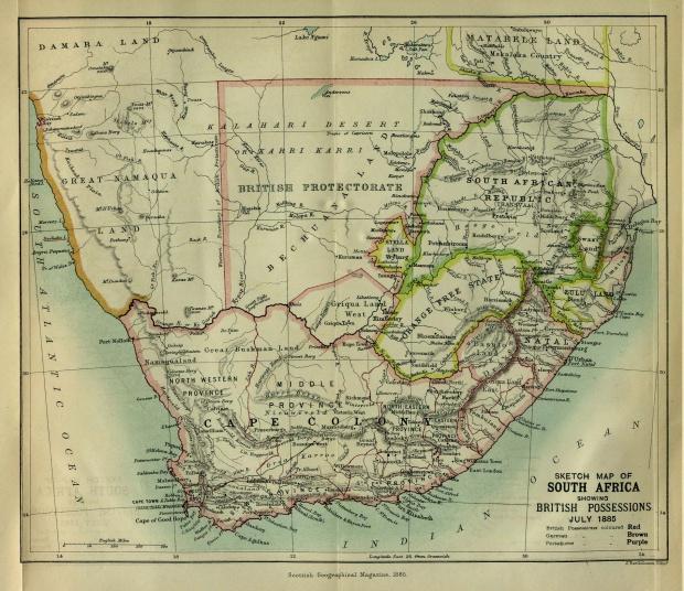Mapa de Sudáfrica 1885